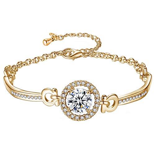 RIsxffp Decoración de la muñeca, circonio cúbico con incrustaciones de cadena ajustable pulsera brazalete de mujer joyería regalo dorado