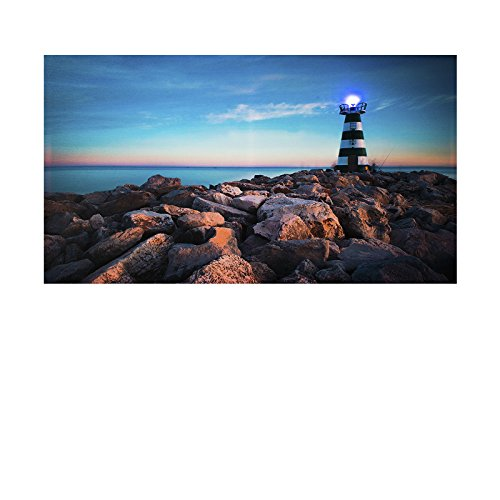 LED Bild Steinküste mit Leuchtturm. Leuchtturm mit wechselnder LED Lampe Licht (Farbspiel)XL Bild, riesig , LED Stimmungsbild mit 1 LED mit Farbspiel und 90 cm Breit x 50 cm Hoch Batteriebetrieb , nur 0,06W, Leuchtbild auf Leinwand mit An und Ausscha