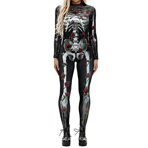GBYAY Disfraces de Halloween para Mujeres Disfraz de Zombie de Terror Disfraz de Esqueleto Femenino Traje de Halloween Mono