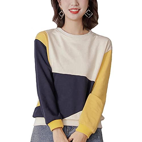 Suéter para mujer, otoño de moda todo color de coincidencia cuello redondo, sudadera casual de manga larga con bloqueo de color suelto, amarillo, M