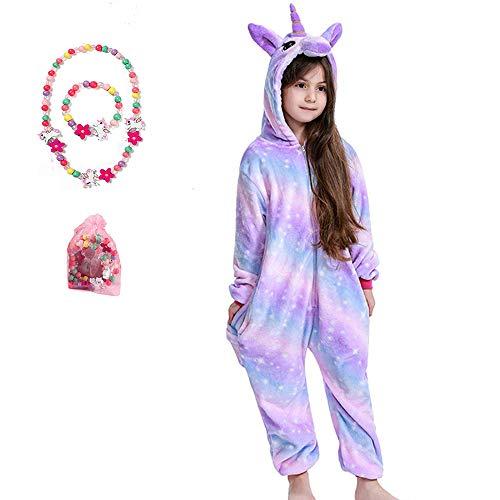 LINKE Mädchen Einhorn Pyjama Premium Qualität Sanft Plüschoverall Gemütlich Geschenk Mit Kostenlosem Bunten Armband & Halskette
