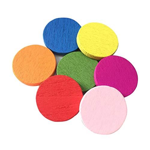 STOBOK pieza de conteo de madera chips de círculos coloridos chips de bingo aprendizaje enseñanza juguete para niño (color mezclado) - 100 piezas