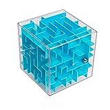 digitCUBE Puzzle 3D de abyinto de bola XL – Juego de habilidad 10 x 10 cm – Regalo para niños y niñas (azul)