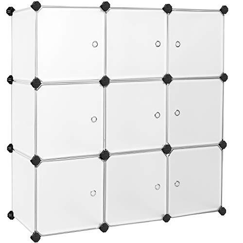 SONGMICS 9 Würfel DIY Regalsystem Kleiderschrank aus Kunststoff mit Türen in modischem Weiß stabil und einfach zu montieren, Steckregal, LPC116WS
