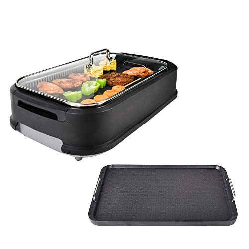 YOURLITE Electric Smokeless Grill with Tempered Glass Lid, Indoor BBQ Grilling and...