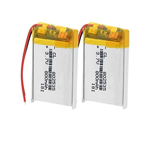TTCPUYSA 3.7v 800mah 802535 Batería De ión De Litio PolíMero De Li Po, Celda para La Radio del Banco del Poder 2pieces