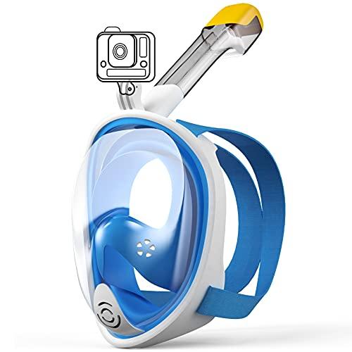 LAPPAZO Máscara Snorkel Buceo S/M Gafas de Buceo con Soporte para Cámara Deportiva180 ° Vista Panorámico Sistema Respirador Anti-Niebla Máscara Acuátita para Adultos y niños