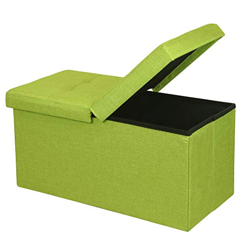 """Otto & Ben 30"""" Storage Ottoman - Folding Toy Box Chest with Smart Lift Top, Upholstered Tufted Ottomans Bench Foot Rest for Bedroom, Lime Green"""