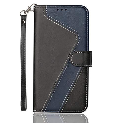 HEIGOU - Custodia a portafoglio per Asus ZenFone 3 Max Plus ZC553KL, in pelle PU, con scomparti per carte di credito e chiusura magnetica, design ad angolo, colore: Nero