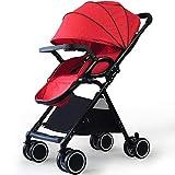 Carritos y sillas de Paseo Cochecito de bebé Plegable Cochecito Ligero Infantil Compacto Buggy de Viaje Plegable Adecuado para avión Bebé Sillas de Paseo (Color : Red)