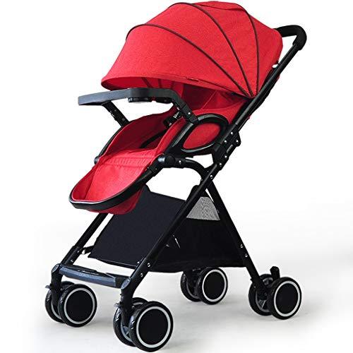 Poussette pliante bébé poussette pliante légère infantile compact voyage buggy pliable approprié pour avion (Color : Red)