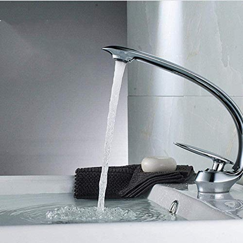 Grifo mezclador de baño tipo curva de latón grifo monomando con orificio para lavado de cubierta Grifo mezclador en frío caliente