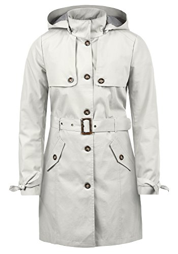 DESIRES Tina Damen Trenchcoat Mantel Übergangsjacke mit Kapuze, Größe:XS, Farbe:Glacier Gr (2210)