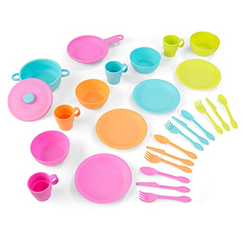 KidKraft 27-Piece Bright Cookware Set, Plastic Dishes and Utensils for Play Kitchens, Gift for Ages 18 mo+