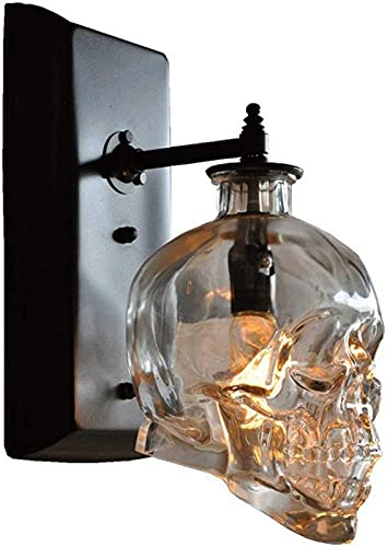 ZJJZ Skull Bones Lámpara de Pared Retro Industrial E14 Cráneo Humano Fantasma Luces de Pared Apliques de Pared de Vidrio Transparente para Bar Restaurante Loft Pasillo Luz de Pared Creativo Hallo