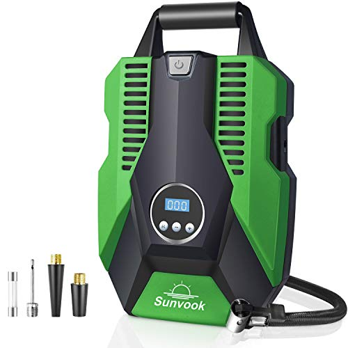 Sunvook Digital Tire Inflator Portable Air Compressor for Car Tires 12V DC car air pump with Emergency Led Lighting, Digital LCD Display, Auto Shut Off (Green)