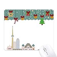 カナダランドマークシティの水彩画の漫画 ゲーム用スライドゴムのマウスパッドクリスマス