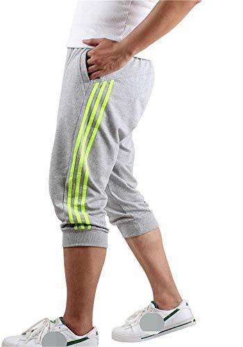 Hooleeger 3/4 Hose Herren Jogginghose Trainingshose Oversize Sporthose Capri Hose (M, Grün)