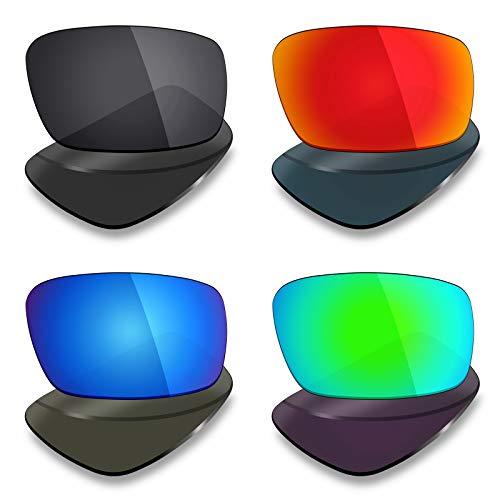 Mryok Lot de 4 paires de verres polarisés de rechange pour lunettes de soleil Oakley Crankshaft – Noir furtif / Rouge feu/Bleu glace/Vert émeraude