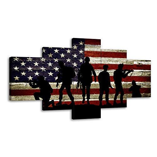 Military Soldiers Army USA US American Flag Canvas Wall Art Prints Thin Blue Red Line Home Decor Pictures for Living Room Bedroom 5 Panel Posters Paintings Framed Ready to Hang (50'Wx24'H, 27)