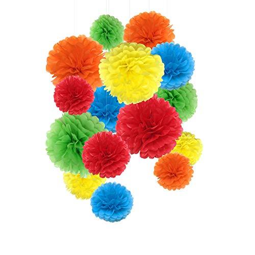 Pompones de papel de seda, flores de papel para decoración de fiestas, decoración de boda y cumpleaños - 15 piezas de 20, 25 y 35 cm (colores arco iris)