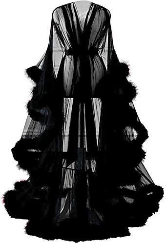 Shhyy Bata de Lencería para Mujer, Bata Kimono Transparente Larga, Ropa Interior Babydoll, Bata de Novia con Plumas,Negro