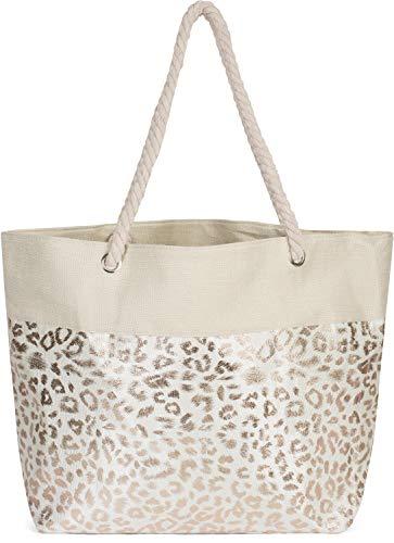 styleBREAKER Damen XXL Strandtasche mit Metallic Leoparden Animal Print und Reißverschluss, Schultertasche, Shopper 02012282, Farbe:Beige-Rosegold