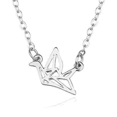 Lexiang Simple Origami Crane Necklace Hollow Aleación Colgante Joyería de Moda Joyas Negras Joyería (Metal Color : D)