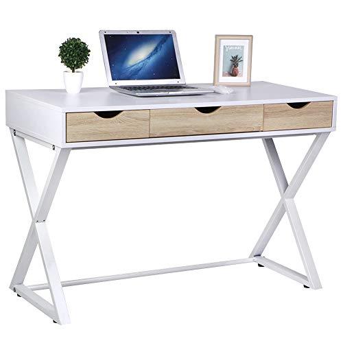 Librería mesa de estudio PC escritorio para ordenador con 3 cajones, mesa de estudio, oficina de madera patas de metal, 110 x 75 x 52 cm