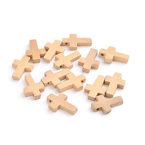 Pandahall 50 cuentas de cruz de madera sin terminar naturales de 7/8 pulgadas x 5/9 pulgadas para hacer joyas