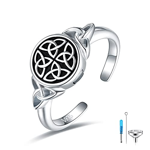 925-Sterling-Silver Urn Cremation Ring for Ashes - Adjustable Celtic Knot Keepsake Rings Hold Loved Ones Ashes for Women Girls ,Cremation Jewerly for Ashes for Men
