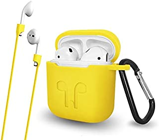 Airpods Case with Keychain Anti-Lost Strap - Waterproof Silicone Cover Airpods Accessories for Apple Airpods (Yellow)