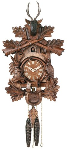 River City Clocks One Day Hunter's Cuckoo Clock with Hand-Carved Oak Leaves, Animals, Crossed Rifles, and Buck - 16 Inches Tall - Model # 19-16