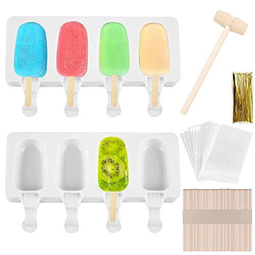 Moldes para helado, 2 unidades, 4 cavidades de silicona para helado, DIY Homemade Helado Popsicle Ice Maker Mold, Popsicle Mold, con 100 varillas de madera (ovalado)