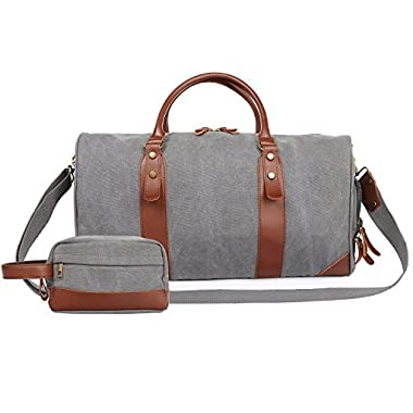 Oflamn 21  Large Duffle Bag Canvas Leather Weekender Overnight Travel Carry On Bag - Free Toiletries Bag (Grey)