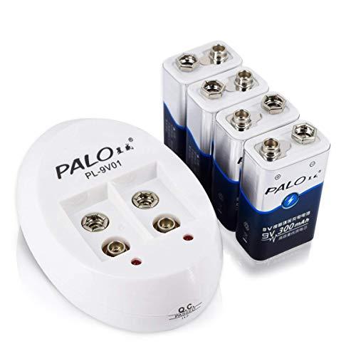 PALO 9V Smart Batterieladegerät mit 4er Pack 300mAh 9V NI-MH Low Selbstentladungs-Lithium-Ionen-Akkus (2-Fach Ladegerät mit 4er Pack 9V)