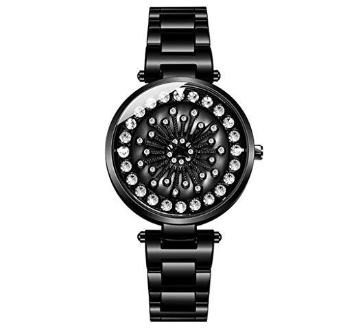 GLEMFOX Womens Quartz horloge 360 ° draaibare wijzerplaat Stijlvolle eenvoudige dames Steel Band Watch armband Large zwart
