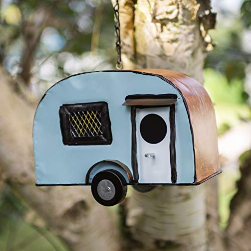 garden mile Novelty Metal Campervan Birdhouse for the Garden Caravan Bird Houses Highly Detailed Predator Proof Bird Nesting Box VW Campervan For Small Birds Garden Ornaments