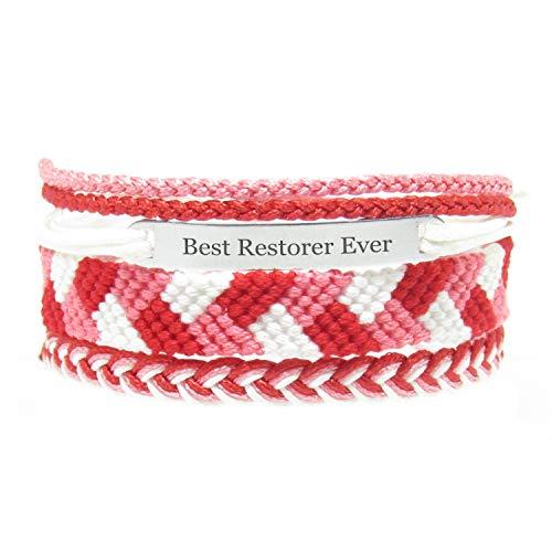 Miiras Job Handmade Bracelet for Women - Best Restorer Ever - Red - Made of Embroidery Thread and Stainless Steel - Gift for Restorer