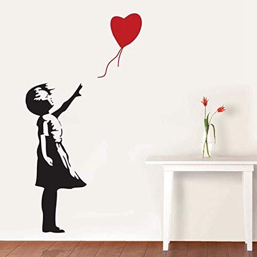 BANKSY GIRL WITH HEART BALLOON VINYL WALL ART DECAL STICKER 56X29 cm