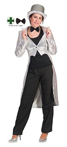 Karneval-Klamotten Frack Pailletten Damen Frack Damen Silber MIT Fliege schwarz Silvester Damen-Kostüm