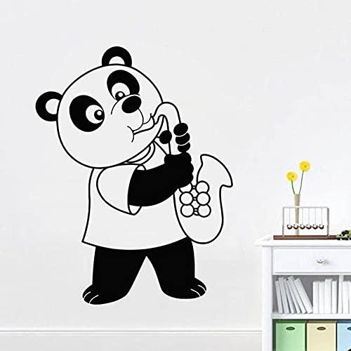 HGFDHG Panda Que sopla saxofón Pared calcomanía Dormitorio guardería Lindo diseño de Interiores Sala de música Arte Moderno Mural Vinilo Adhesivo para Pared