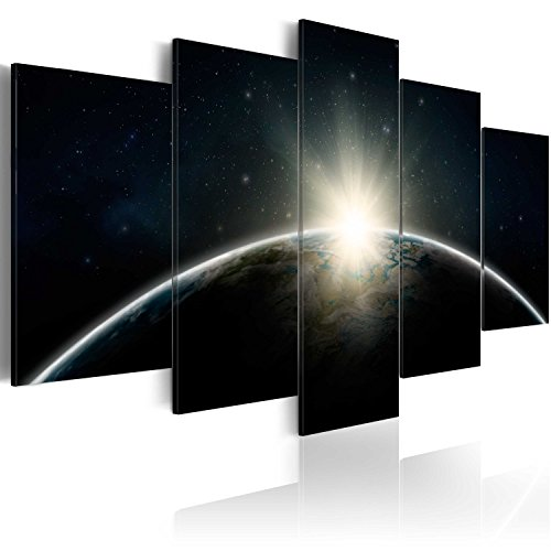 murando Akustikbild Erde Earth 225x112 cm Bilder Hochleistungsschallabsorber Schallschutz Leinwand Akustikdämmung 5 TLG Wandbild Raumakustik Schalldämmung f-A-0089-b-m