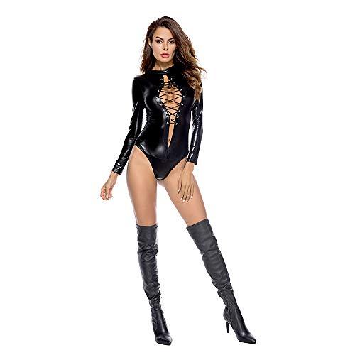YUYAOBING Sexy Dessous Shiny Lackleder Jumpsuit Bühne Phoenix Strap Steel Pole Dance Jumpsuit