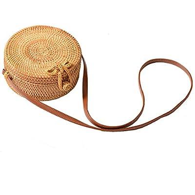 Round Rattan Bag Shoulder Leather Straps Natural Chic Hand NATURALNEO