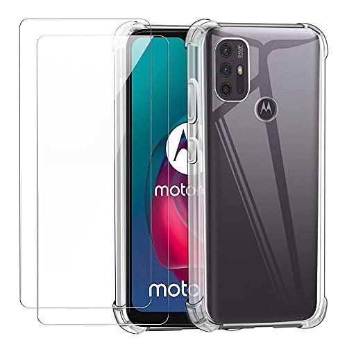 Reshias Funda para Motorola Moto G10 con Dos Cristal Templado Protector de Pantalla, Transparente Suave TPU Anti-caída Protectora Carcasa para Motorola Moto G10   G20   G30 (6.5 Pulgadas)