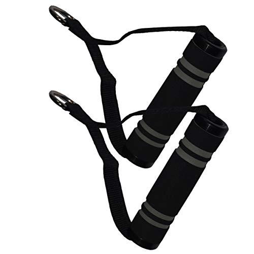 Fitnessexpress24 1 Paar Einhand Kabelzug Griffe Trainings Griff Latzug Einhandgriff Schwarz/Grau
