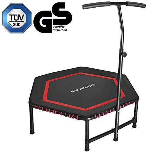 NATURALIFE Mini trampolín de salto de fitness con mango ajustable, hogar, oficina, gimnasio, jardín, 106 cm, reboteador de fitness para ejercicio y cardio, peso máximo 120 kg