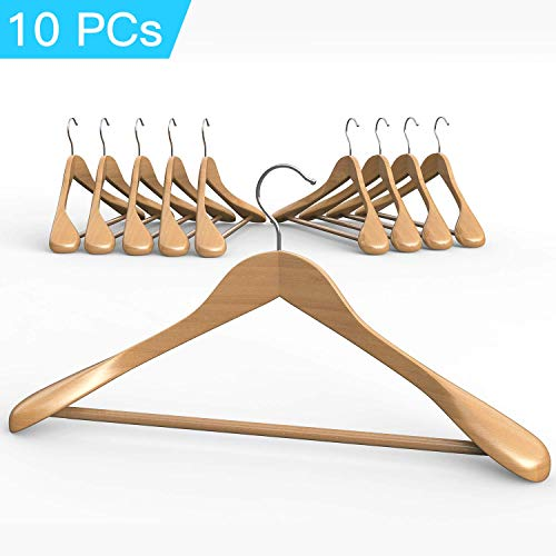 10 Pieces Deluxe Coat Suit Garment Clothes White Color Fine Polished Solid Wooden Hangers With Non Slip Tube and Coated Finish Good for Coat with Durable Chromed Hook