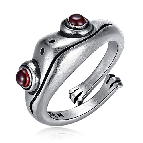 holilest Ring, Sterling Silver Frog Open Rings Women Vintage Cute Animal Frog Finger Ring Band